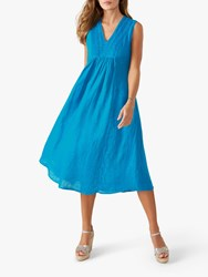 Pure Collection Linen Midi Dress Bright Turquoise