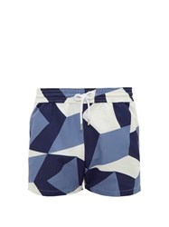 Frescobol Carioca Modernist Geometric Print Technical Swim Shorts Navy Multi
