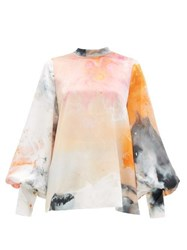 Roksanda Ilincic Cala Balloon Sleeve Space Print Silk Blouse Orange