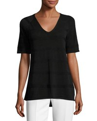 Lafayette 148 New York Staggered Links Striped Short Sleeve Sweater Black