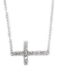 Lord And Taylor Sterling Silver Cubic Zirconia Sideways Cross Pendant Necklace