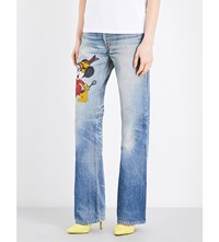 Fiorucci Mickey High Rise Straight Leg Jeans Blue