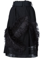 Vera Wang Ostrich Feather Sheer Skirt Black