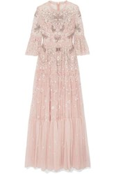 Needle And Thread Dragonfly Garden Embellished Embroidered Tulle Gown Blush