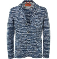 Missoni Blue Space Dyed Knitted Cotton Blazer Blue