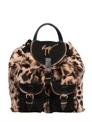 Giuseppe Zanotti Leopard Print Suede And Faux Fur Backpack