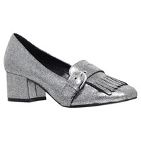 Carvela Agatha Buckle Fringe Block Heeled Court Shoes Gunmetal Fabric