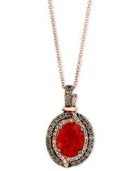 Le Vian Fire Opal 9 10 Ct. Chocolate 1 3 Ct. T.W. And White Diamond 1 8 Ct. T.W. Pendant In 14K Rose Gold