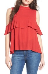 Women's Bp. Ruffle Cold Shoulder Top Red Sage