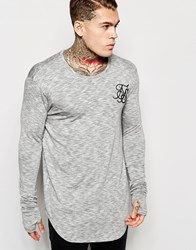 Sik Silk Siksilk Longline Long Sleeve Fitted T Shirt White