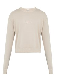 Saint Laurent Distressed Edge Crew Neck Sweater Pink