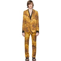 Dries Van Noten Yellow Wool Kline Floral Suit