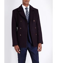 Ted Baker Double Breasted Wool Peacoat Red