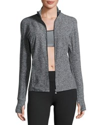 Beyond Yoga Eat Sleep And Re Pleat Space Dye Athletic Jacket Black White Black White