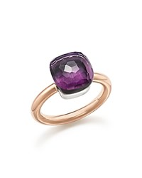 Pomellato Nudo Classic Ring With Amethyst In 18K Rose And White Gold Purple Rose