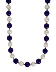 Effy 14K Yellow Gold Pearl And Lapis Necklace Lapis Pearl