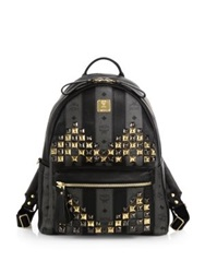 Mcm Visetos Strasse Coated Canvas Backpack Grey Multi