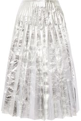 Gucci Pleated Metallic Leather Midi Skirt Silver