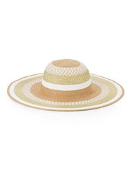 Saks Fifth Avenue Lurex Striped Hat Natural