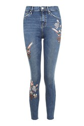 Topshop Moto Floral Embroidered Jamie Jeans Blue