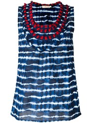 Tory Burch Embellished Neck Striped Tank Blue