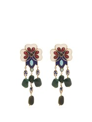 Etro Floral Bead Embellished Drop Clip On Earrings Green