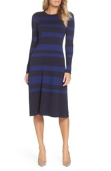 Eliza J Stripe Midi Dress Navy