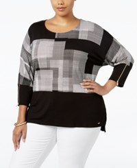 Calvin Klein Plus Size Printed Dolman Sleeve Top Black White Print