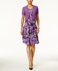 Ny Collection Petite Printed Fit And Flare Dress With Shrug Violet Tacoma