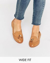 Dune Wide Fit Loki Tan Leather Mix Loafers Tan Leather Mix