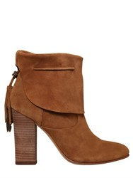 Sigerson Morrison 95Mm Tassel Fold Over Suede Ankle Boots