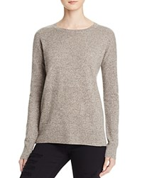 Aqua Cashmere High Low Crewneck Cashmere Sweater Heather Brown Oatmeal Twist
