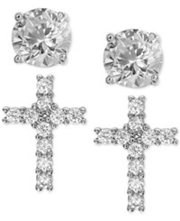 Giani Bernini 2 Pc. Set Cubic Zirconia Cross And Round Stud Earrings In Sterling Silver Only At Macy's