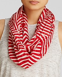 Aqua Op Art Geometric Loop Scarf Red