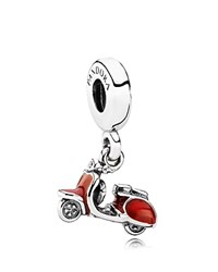 Pandora Design Pandora Dangle Charm Sterling Silver And Enamel Scooter Moments Collection Silver Red