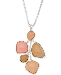 T Tahari Beach Stone Pendant Drop Necklace Silver Coral