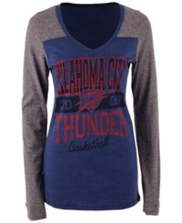 5Th And Ocean Women's Oklahoma City Thunder Dunk Long Sleeve T Shirt Blue Gray