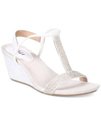 Styleandco. Style Co. Mulan 2 Embellished Evening Wedge Sandals Only At Macy's Women's Shoes White Silver