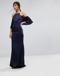 Jarlo Fishtail Maxi Dress With Cold Shoulder Navy