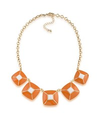 1St And Gorgeous Enamel Pyramid Pendant Statement Necklace In Spiced Orange White Gold