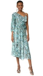 Preen By Thornton Bregazzi William One Shoulder Dress Flower Ring Blue