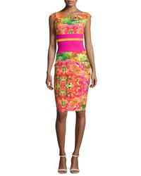 La Petite Robe Di Chiara Boni Sumatra Cap Sleeve Floral Sheath Dress Multicolor