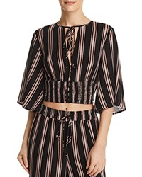 Re Named Quinn Striped Button Front Crop Top Black