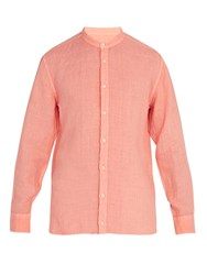 120 Lino Long Sleeved Linen Shirt Orange