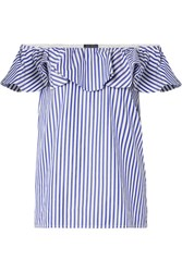 Mds Stripes Off The Shoulder Ruffled Striped Cotton Poplin Top Blue