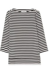 Max Mara Button Embellished Striped Silk Top Navy