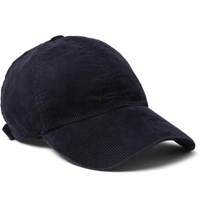 Officine Generale Garment Dyed Cotton Blend Corduroy Baseball Cap Navy