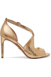 Michael Michael Kors Estee Metallic Snake Effect Leather Sandals Gold