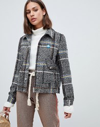 Maison Scotch Short Wool Belted Worker Jacket In Check Combo A Grey