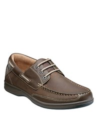 Florsheim Lakeside Leather Oxford Boat Shoes Stone
